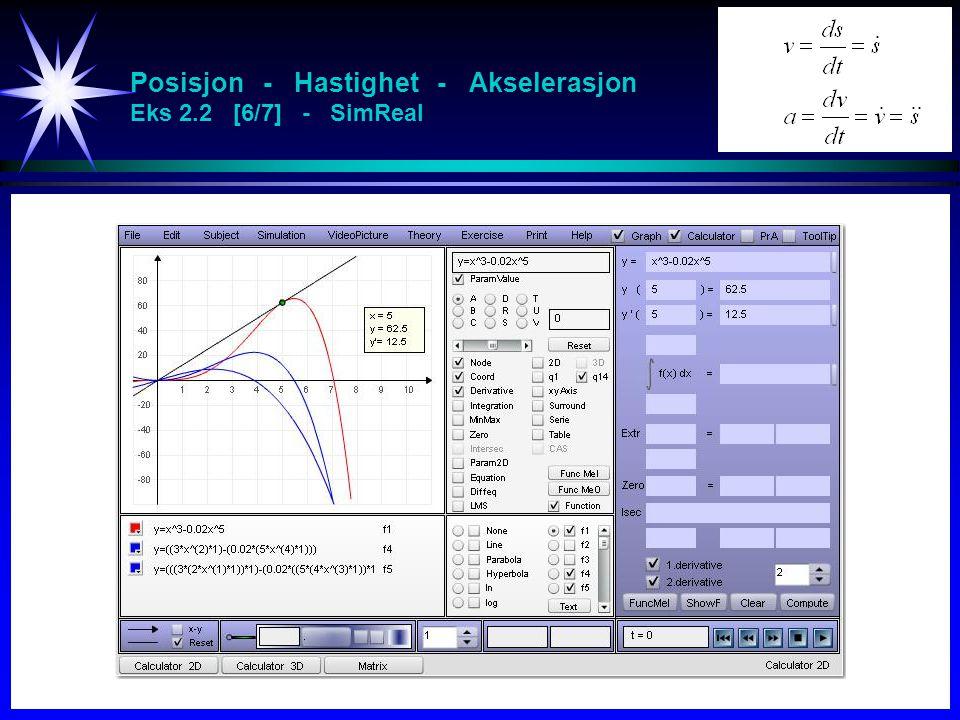 Posisjon - Hastighet - Akselerasjon Eks 2.2 [6/7] - SimReal